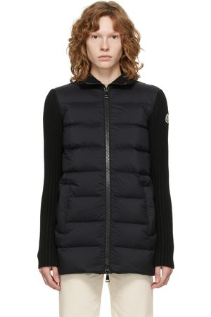 Moncler Women Cardigans - Black Down Quilted Cardigan Jacket