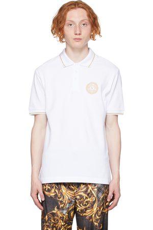 VERSACE White V-Emblem Motif Polo