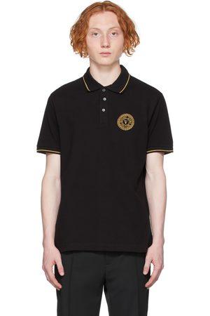 VERSACE Black V-Emblem Motif Polo