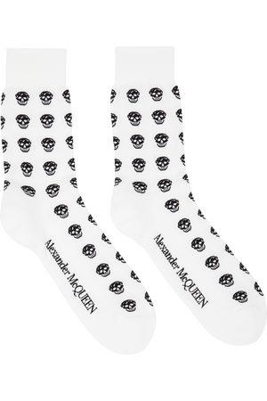 Alexander McQueen White & Black Skull Sport Short Socks