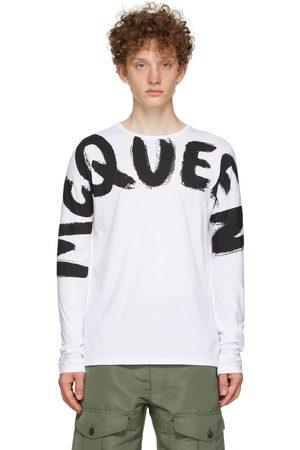 Alexander McQueen White Graffiti Kimono Sleeve Long Sleeve T-Shirt