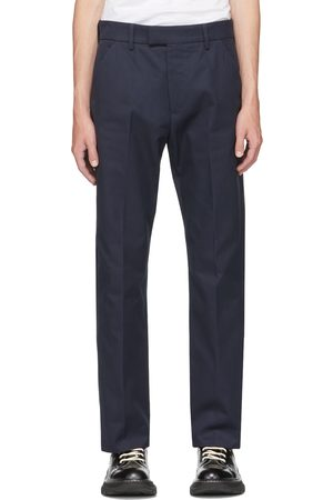 Alexander McQueen Navy Gabardine Straight Leg Trousers