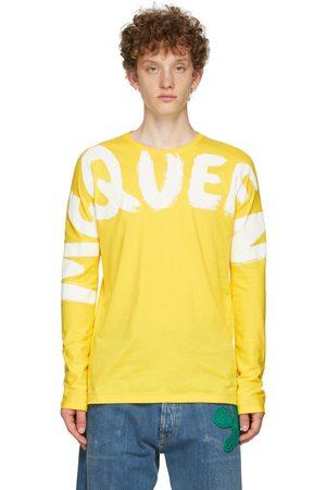 Alexander McQueen Men Long Sleeve - Yellow Graffiti Kimono Sleeve Long Sleeve T-Shirt