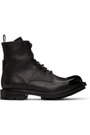 Alexander McQueen Black Pebbled Lace-Up Boots
