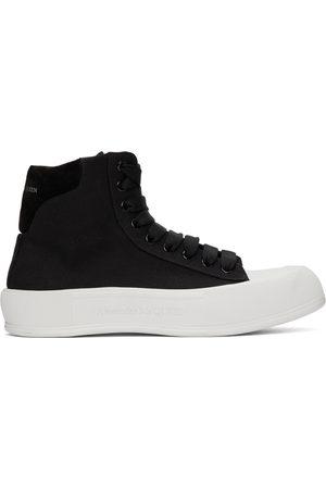 Alexander McQueen Black Canvas Deck Plimsoll High Sneakers