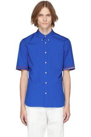 Alexander McQueen Blue Logo Tape Brad Pitt Short Sleeve Shirt