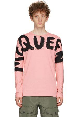 Alexander McQueen Pink Graffiti Kimono Sleeve Long Sleeve T-Shirt