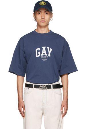 Balenciaga Men T-shirts - Navy 'Pride' T-Shirt