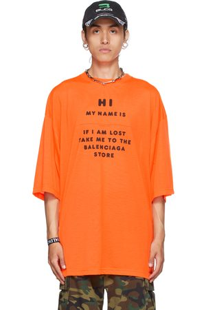 Balenciaga Orange 'Hi My Name Is' T-Shirt