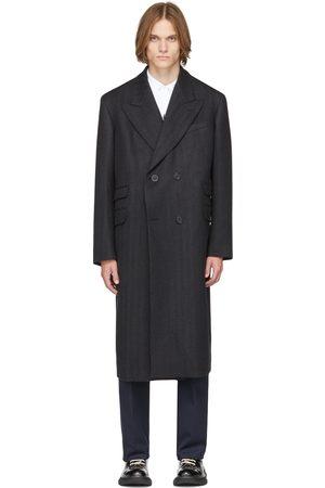 Alexander McQueen Grey Herringbone Oversized Tailored Double-Breasted Coat