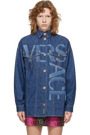 VERSACE Women Denim - Blue Denim Logo Shirt