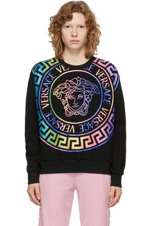 VERSACE Women Sweatshirts - Black & Multicolor Medusa Logo Sweatshirt