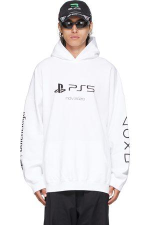 Balenciaga Men Hoodies - White Sony Playstation Edition Boxy Hoodie