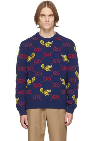 Gucci Men Sweaters - Blue Freya Hartas Edition GG Animal Sweater
