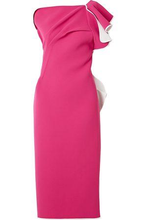 MATICEVSKI Woman Atomised One-shoulder Draped Cady Midi Dress Fuchsia Size 10