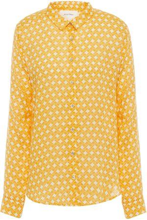 AMERICAN VINTAGE Woman Dorabird Gathered Printed Twill Shirt Marigold Size L