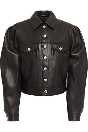 IRO Women Leather Jackets - Woman Aressa Gathered Leather Jacket Size 34