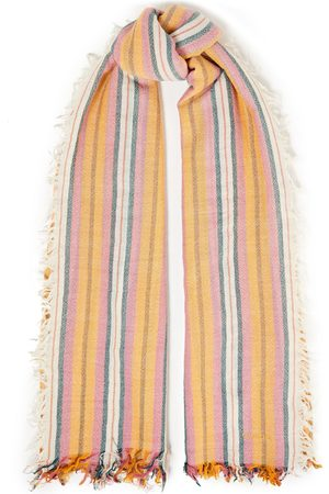 CHAN LUU Women Scarves - Woman Striped Cashmere And Silk-blend Scarf Ivory Size