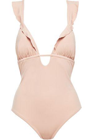 Eberjey Woman Ruffled Ruched Swimsuit Blush Size S