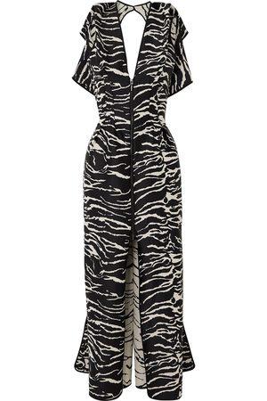 MATICEVSKI Woman Insecta Zebra-jacquard Maxi Dress Animal Print Size 10