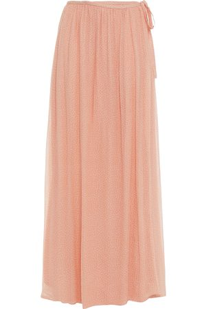 American Vintage Woman Floral-print Crepon Maxi Wrap Skirt Peach Size L