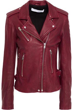 IRO Woman Newhan Leather Biker Jacket Claret Size 42