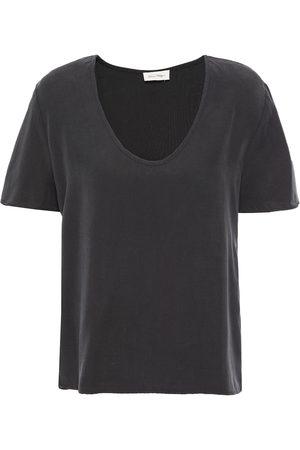AMERICAN VINTAGE Women Short Sleeve - Woman Lyocell-twill T-shirt Charcoal Size L