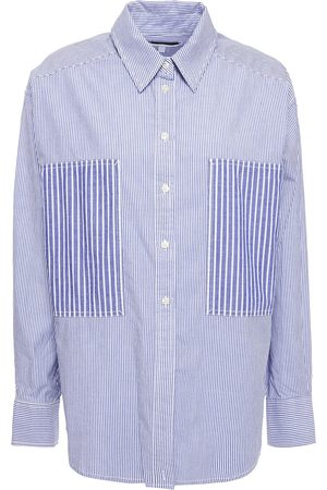 CURRENT/ELLIOTT Woman Paneled Striped Cotton-oxford Shirt Indigo Size 0