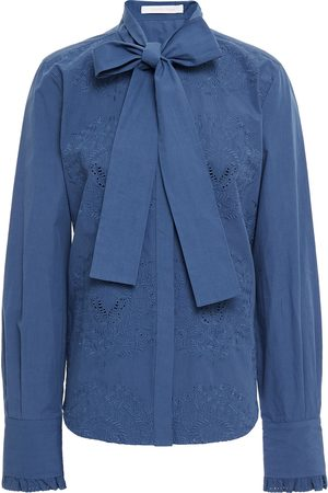 SEE BY CHLOÉ See By Chloé Woman Broderie Anglaise-trimmed Pussy-bow Cotton-poplin Shirt Slate Size 34