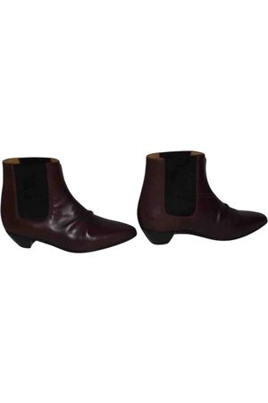 Céline Burgundy Leather Boots