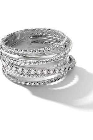 David Yurman Sterling large Crossover diamond ring