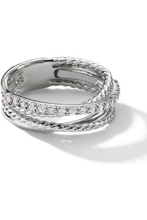 David Yurman Sterling small Crossover diamond ring