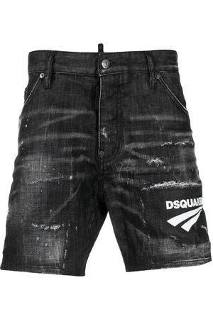 Dsquared2 Men Shorts - Logo print distressed denim shorts