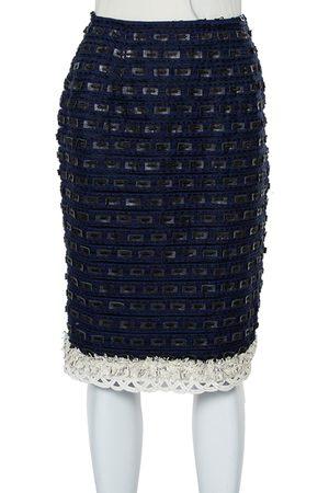 Oscar de la Renta Navy Synthetic & Faux Leather Trim Pencil Skirt M