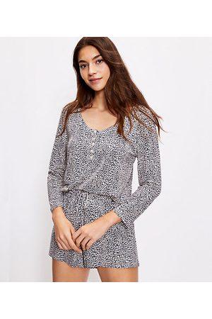 LOFT Women Pajamas - Cheetah Print Henley Pajama Top