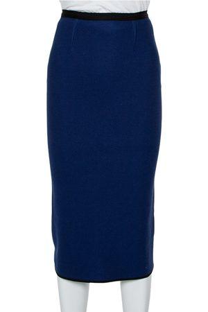 Roland Mouret Navy Textured Cotton Pencil Skirt S