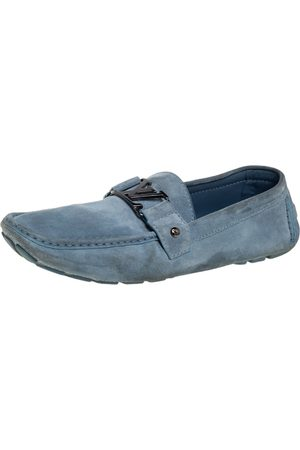 LOUIS VUITTON Suede Monte Carlo Slip On Loafers Size 46