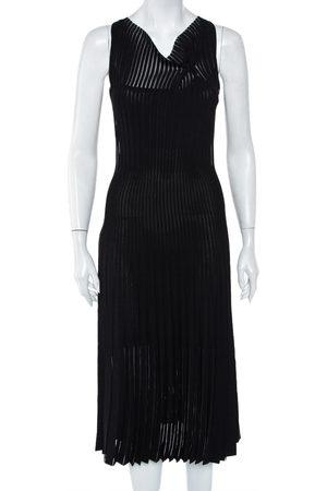 Roland Mouret Panelled Knit Draped Detail Sleeveless Midi Dress S