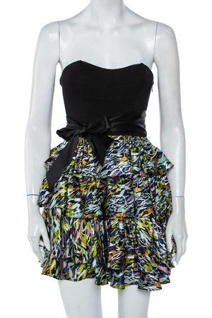 Diane von Furstenberg Satin & Knit Waist Tie Detail Strapless Mini Dress XS