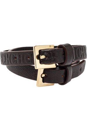 CH Carolina Herrera Dark Monogram Leather Wrap Bracelet Set