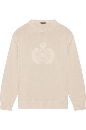 Balenciaga Embroidered-design long-sleeve jumper - Neutrals