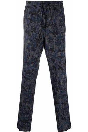 VERSACE Men Straight Leg Pants - Baroque-pattern print straight-leg trousers - Grey