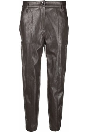 Luisa Cerano Women Leather Pants - Crinkled faux-leather slim-cut trousers - Grey