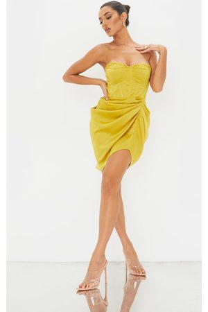 PRETTYLITTLETHING Women Bodycon Dresses - Light Lime Satin Bandeau Corset Detail Gathered Skirt Bodycon Dress