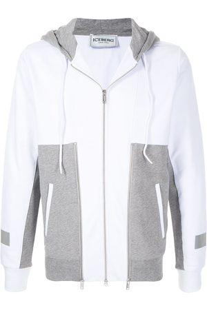 Iceberg Men Hoodies - Two-tone zip-up hoodie
