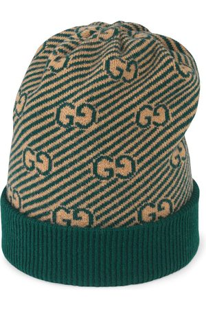 Gucci Boys Hats - Diagonal GG pattern jacquard knit hat - Neutrals
