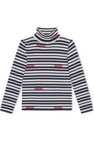 Gucci Boys Turtlenecks - Intarsia-logo stripe wool turtleneck