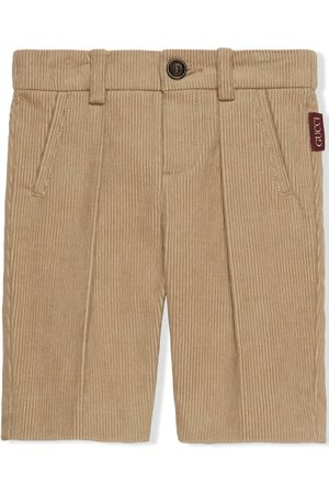 Gucci Chinos - Logo-patch corduroy trousers - Neutrals