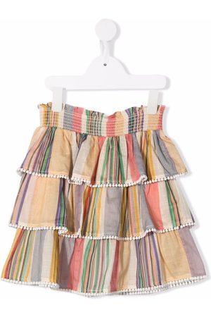 ZIMMERMANN Stripe-print ruffled skirt - Neutrals