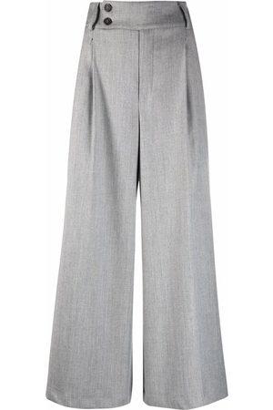 SEMICOUTURE Women Wide Leg Pants - Wide-leg cropped trousers - Grey